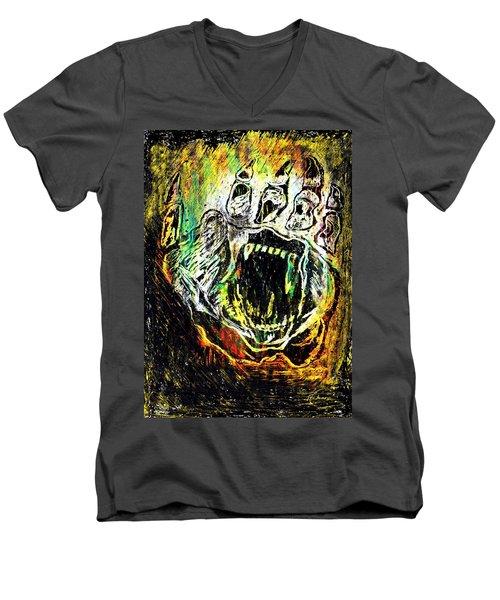 Men's V-Neck T-Shirt featuring the painting Sacred Paw Impression by Ayasha Loya