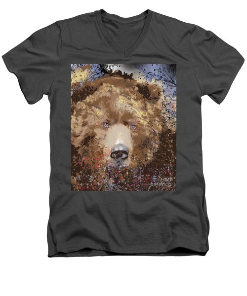 Men's V-Neck T-Shirt featuring the digital art Sad Brown Bear by Kim Prowse