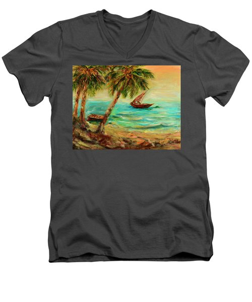 Men's V-Neck T-Shirt featuring the painting Sail Boats On Indian Ocean  by Sher Nasser