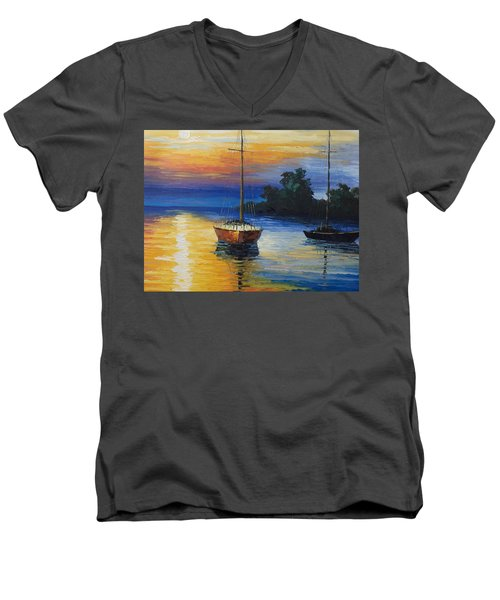 Sailboat At Sunset Men's V-Neck T-Shirt