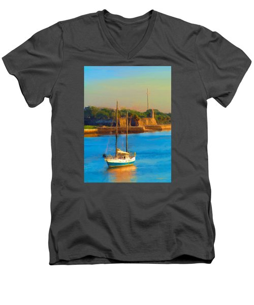 Da147 Sailboat By Daniel Adams Men's V-Neck T-Shirt