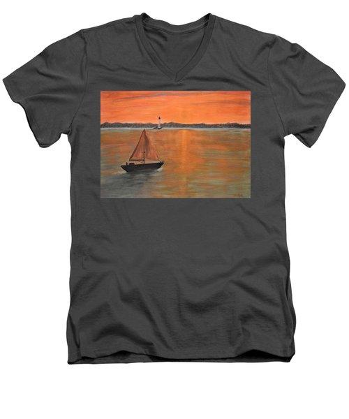 Sailboat Sunset Men's V-Neck T-Shirt