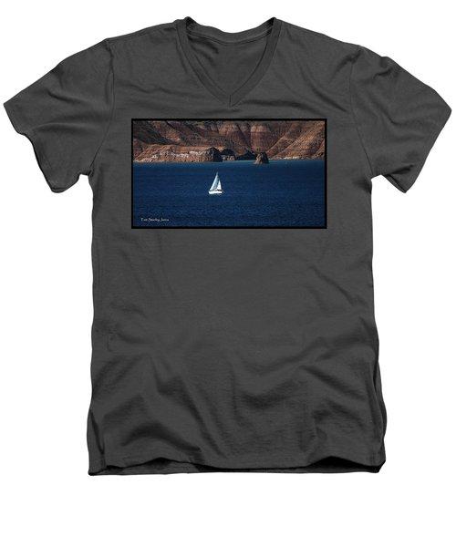 Sailing At Roosevelt Lake On The Blue Water Men's V-Neck T-Shirt by Tom Janca