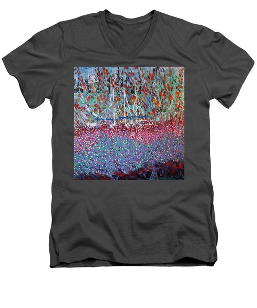 Sailing Among The Flowers Men's V-Neck T-Shirt by George Riney