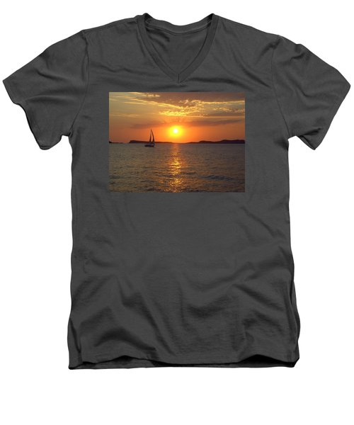 Sailing Boat In Ibiza Sunset Men's V-Neck T-Shirt