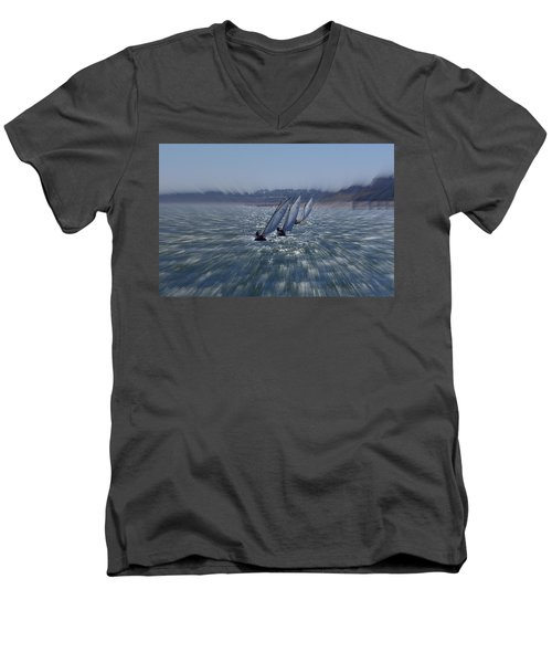 Sailing Boats Racing Men's V-Neck T-Shirt