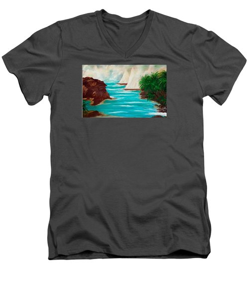 Men's V-Neck T-Shirt featuring the painting Sailing The Coast Of California by Sherri  Of Palm Springs