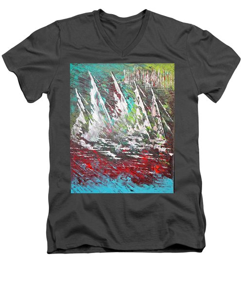 Sailing Together - Sold Men's V-Neck T-Shirt by George Riney