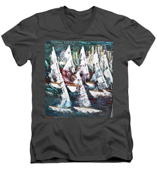 Sailing With Friends - Sold Men's V-Neck T-Shirt by George Riney