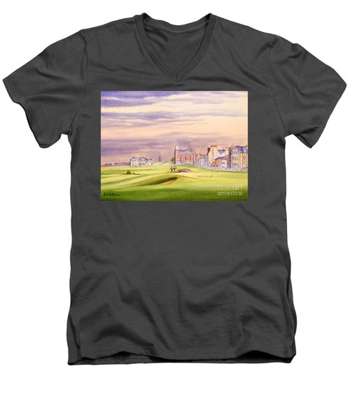 Men's V-Neck T-Shirt featuring the painting Saint Andrews Golf Course Scotland - 17th Green by Bill Holkham