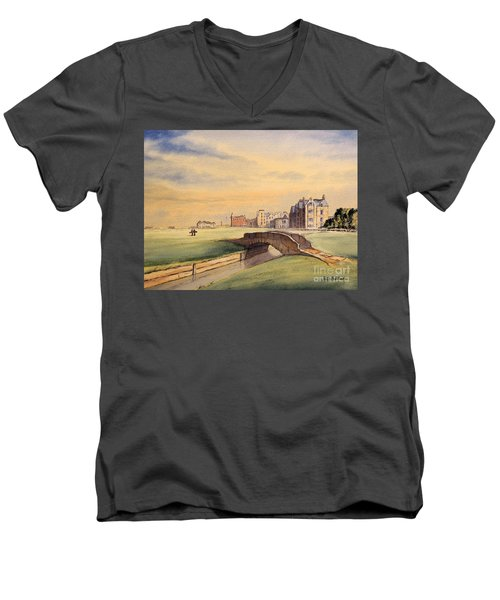 Men's V-Neck T-Shirt featuring the painting Saint Andrews Golf Course Scotland - 18th Hole by Bill Holkham