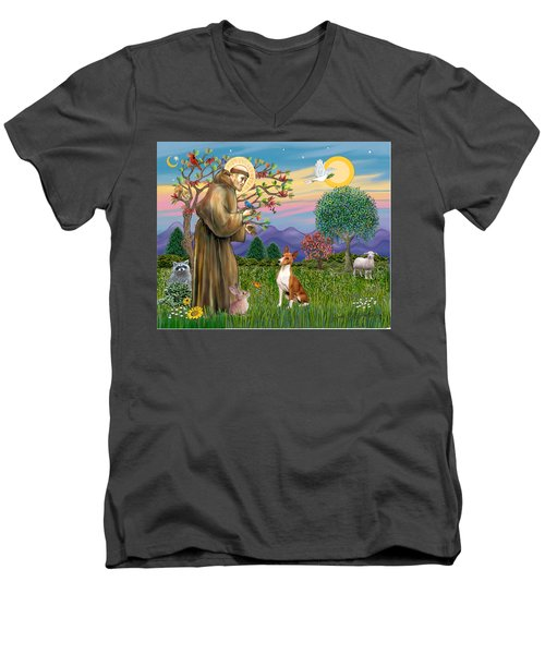 Saint Francis Blesses A Basenji Men's V-Neck T-Shirt