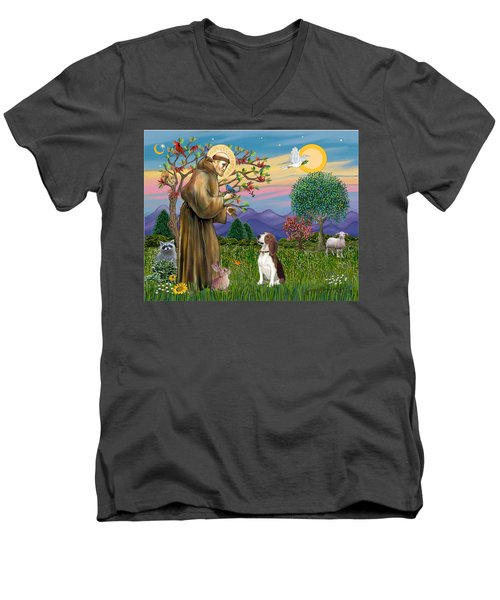 Saint Francis Blesses A Beagle Men's V-Neck T-Shirt