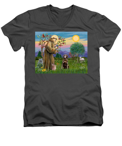 Saint Francis Blesses A Chocolate Labrador Retriever Men's V-Neck T-Shirt