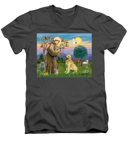 Saint Francis Blesses A Golden Retriever Men's V-Neck T-Shirt