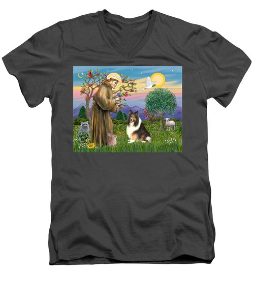 Saint Francis Blesses A Sable And White Collie Men's V-Neck T-Shirt