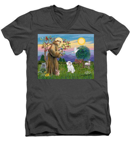 Saint Francis Blesses An English Bulldog Men's V-Neck T-Shirt
