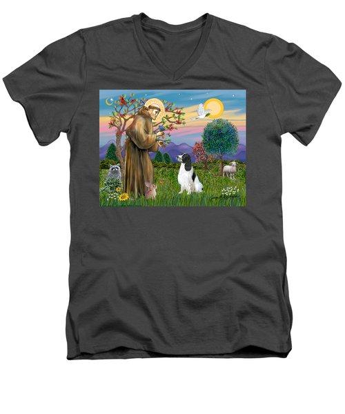 Saint Francis Blesses An English Springer Spaniel Men's V-Neck T-Shirt