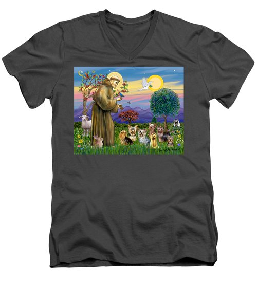 Saint Francis Blesses Seven Yorkies Men's V-Neck T-Shirt