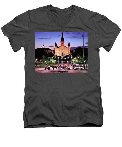 Saint Louis Cathedral New Orleans Men's V-Neck T-Shirt by Allen Beatty