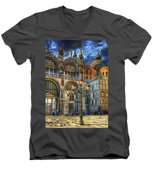 Men's V-Neck T-Shirt featuring the photograph Saint Marks Square by Jerry Fornarotto