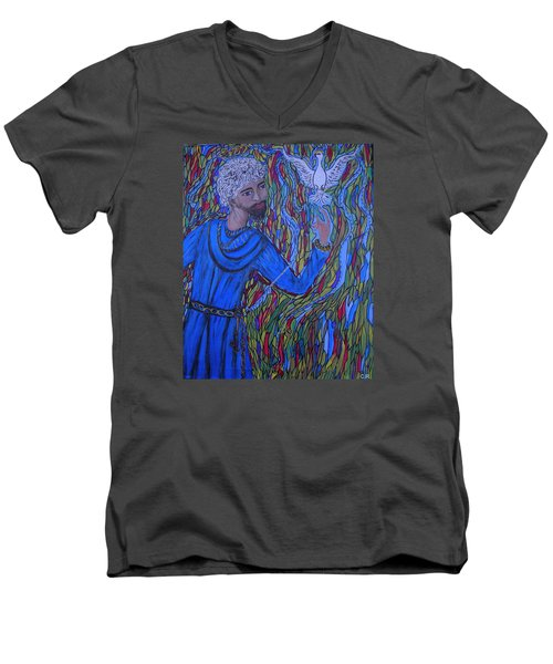 Men's V-Neck T-Shirt featuring the painting Saint Peter by Marie Schwarzer