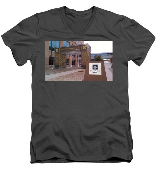 Saints - Champions Square - New Orleans La Men's V-Neck T-Shirt