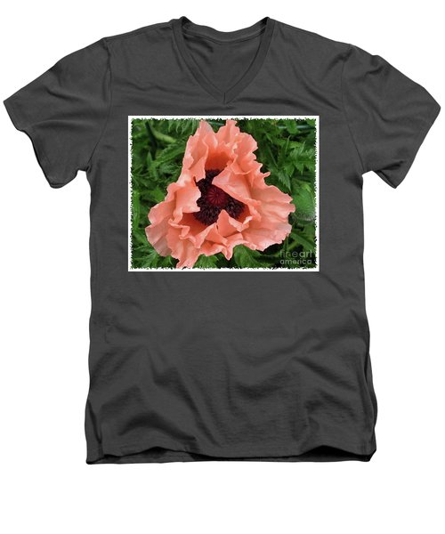 Salmon Colored Poppy Men's V-Neck T-Shirt by Barbara Griffin