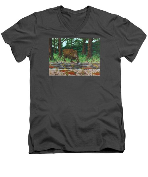 Salmon Fishing Men's V-Neck T-Shirt by Katherine Young-Beck