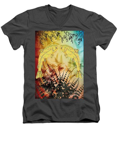 Salmon Love Gold Men's V-Neck T-Shirt by Kim Prowse