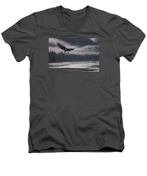 Men's V-Neck T-Shirt featuring the photograph Salmon River Mist by Stanza Widen