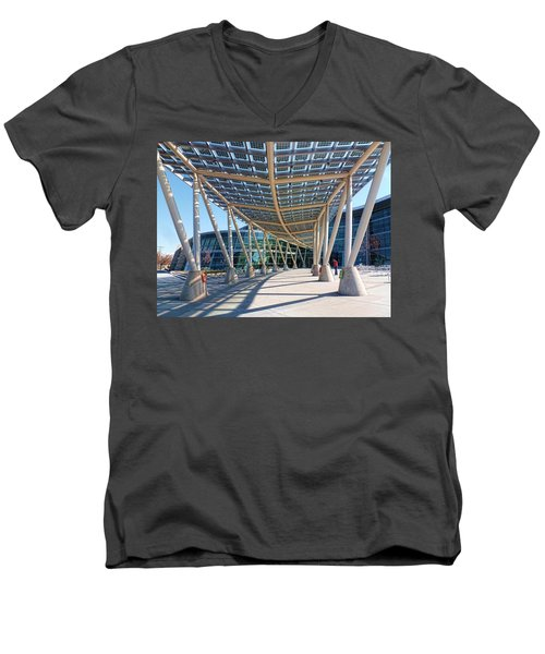 Men's V-Neck T-Shirt featuring the photograph Salt Lake City Police Station - 2 by Ely Arsha