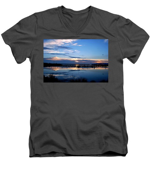 Salt Lake Marina Sunset Men's V-Neck T-Shirt by Matt Harang