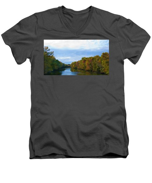 Saluda River In The Fall Men's V-Neck T-Shirt