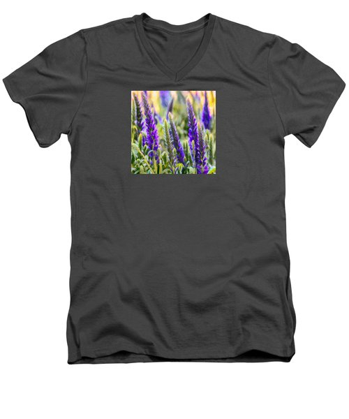 Salvia Sway Men's V-Neck T-Shirt by Jean OKeeffe Macro Abundance Art