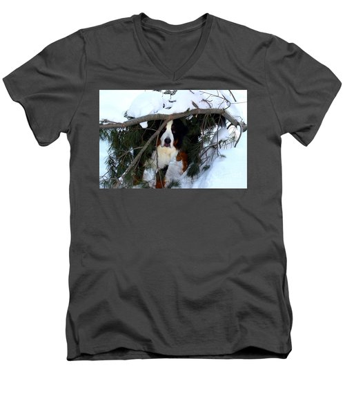 Men's V-Neck T-Shirt featuring the photograph Sam And His Fort by Patti Whitten