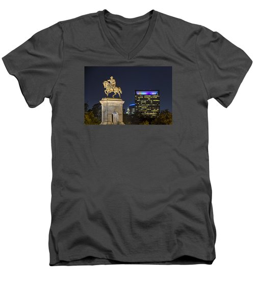Men's V-Neck T-Shirt featuring the photograph Sam Houston At Night by Tim Stanley