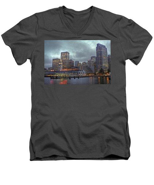 San Francisco Port All Lit Up Men's V-Neck T-Shirt