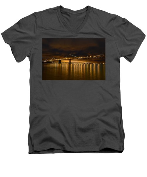 San Francisco - Bay Bridge At Night Men's V-Neck T-Shirt