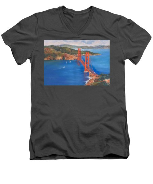 San Francisco Bay Bridge Men's V-Neck T-Shirt