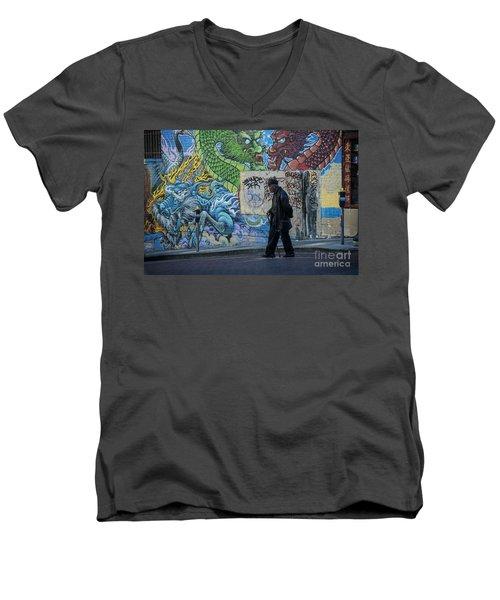 San Francisco Chinatown Street Art Men's V-Neck T-Shirt by Juli Scalzi