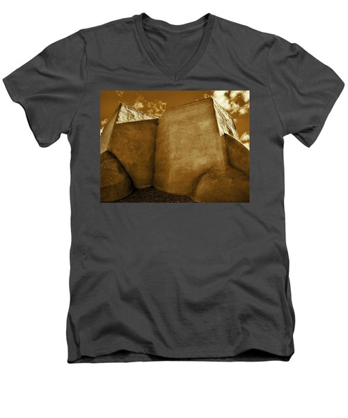 Men's V-Neck T-Shirt featuring the photograph San Francisco De Asis Mission Church Taos II by John Hansen