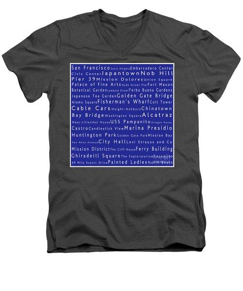 San Francisco In Words Blue Men's V-Neck T-Shirt