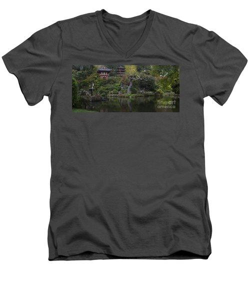 San Francisco Japanese Garden Men's V-Neck T-Shirt by Mike Reid