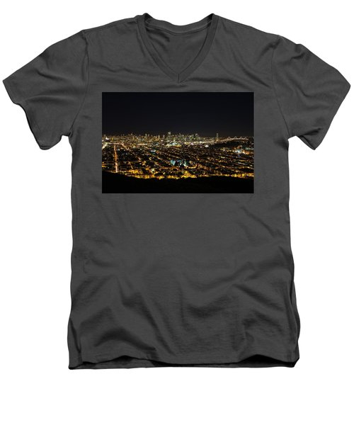 Men's V-Neck T-Shirt featuring the photograph San Francisco Skyline by Dave Files