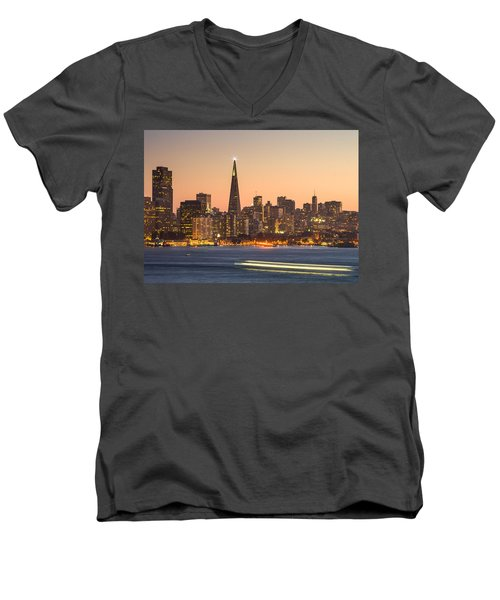 San Francisco Skyline Late Evening Men's V-Neck T-Shirt