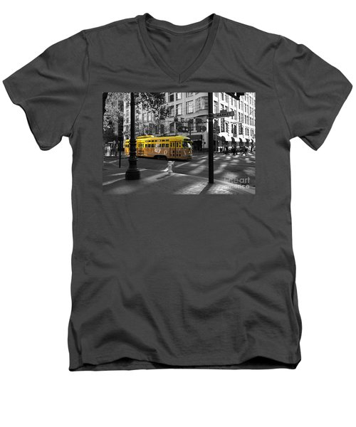 San Francisco Vintage Streetcar On Market Street - 5d19798 - Black And White And Yellow Men's V-Neck T-Shirt