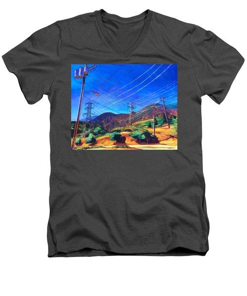 San Gabriel Power Men's V-Neck T-Shirt by Bonnie Lambert