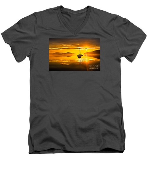 San Juan Sunrise Men's V-Neck T-Shirt by Robert Bales