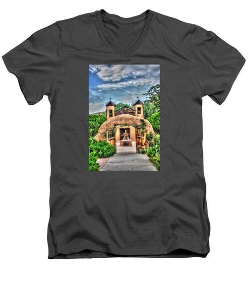 Men's V-Neck T-Shirt featuring the photograph Santuario De Chimayo by Lanita Williams